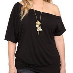 Vintage torrid twist tee off shoulder blouse tee 0